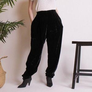 Vintage 90s black velvet silk baggy trouser pants